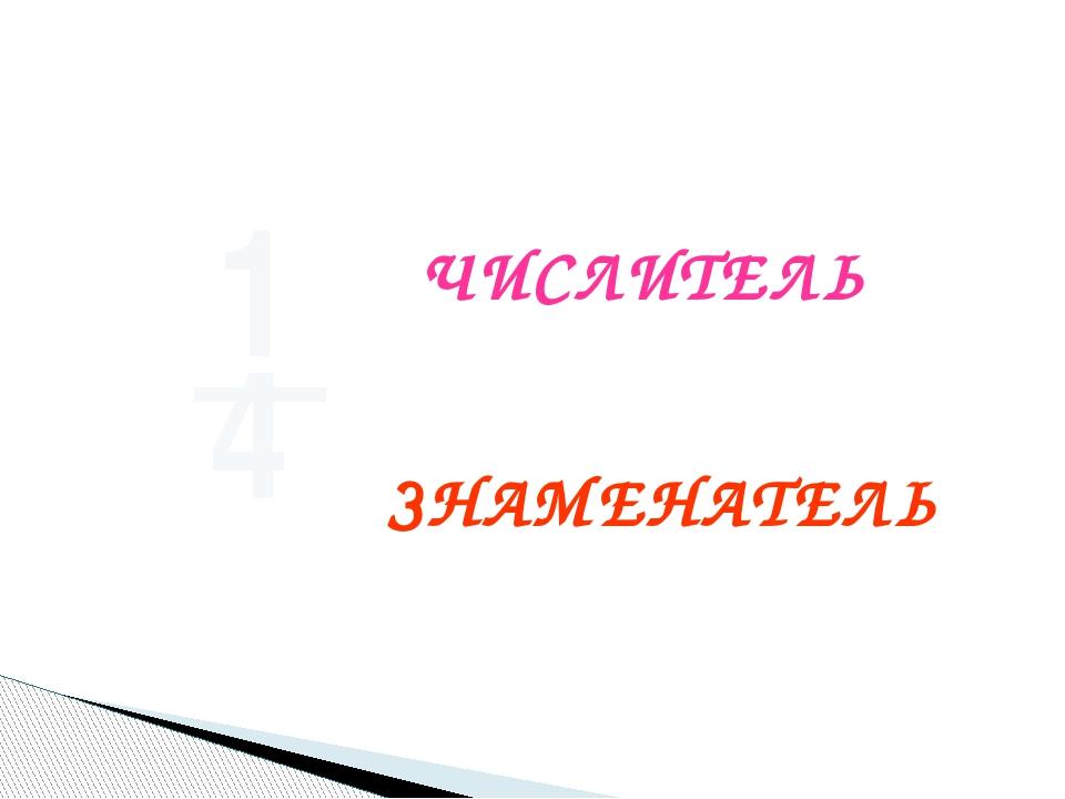 1 _ 4 ЧИСЛИТЕЛЬ ЗНАМЕНАТЕЛЬ