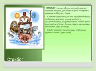 Стрибог СТРИБОГ- является Богом, который управляет молниями, вихрями, урага