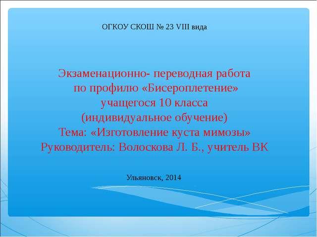 ОГКОУ СКОШ № 23 VIII вида Экзаменационно- переводная работа по профилю «Бисе...