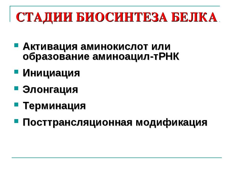 СТАДИИ БИОСИНТЕЗА БЕЛКА Активация аминокислот или образование аминоацил-тРНК...