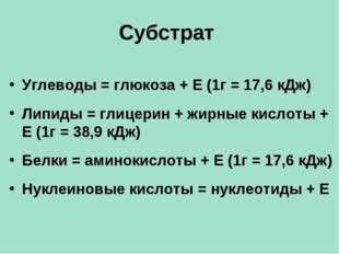 Субстрат Углеводы = глюкоза + Е (1г = 17,6 кДж) Липиды = глицерин + жирные ки
