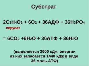 Субстрат (выделяется 2600 кДж энергии из них запасается 1440 кДж в виде 36 мо