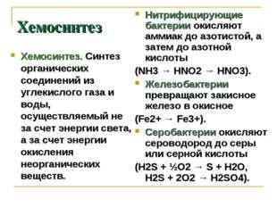 Хемосинтез Хемосинтез. Синтез органических соединений из углекислого газа и в