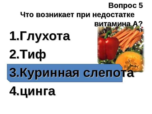 Вопрос 5 Что возникает при недостатке витамина А? Глухота Тиф Куринная слепот...
