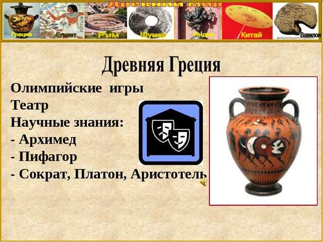 Олимпийские игры Театр Научные знания: - Архимед - Пифагор - Сократ, Платон,...