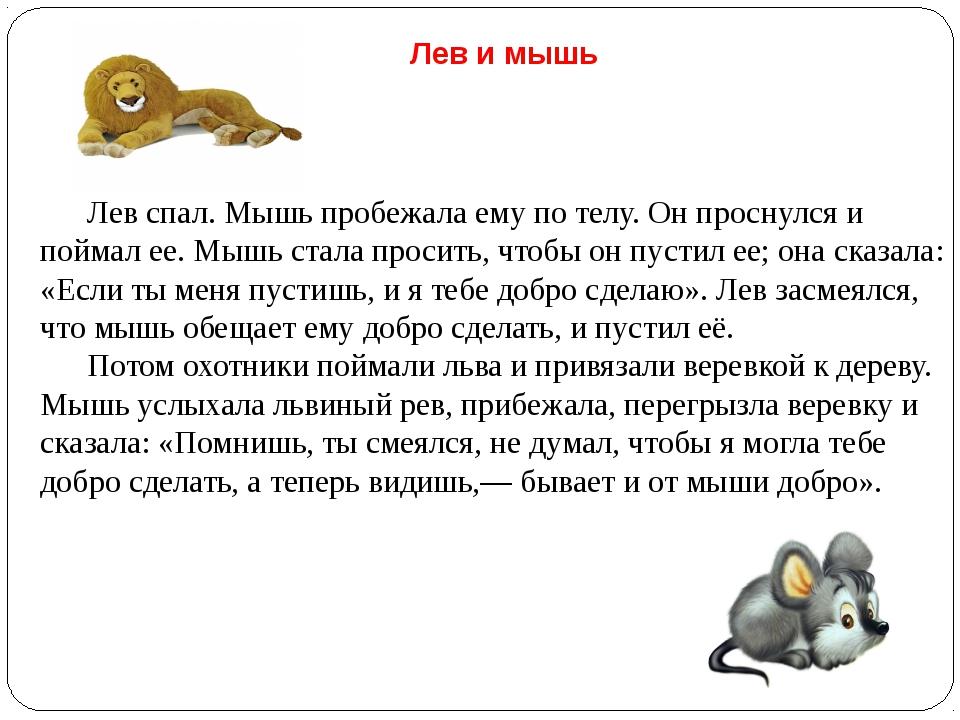 Лев и мышь Лев спал. Мышь пробежала ему по телу. Он проснулся и поймал ее. М...