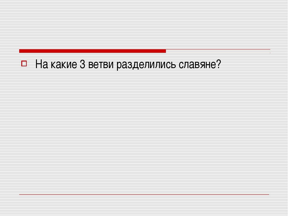 На какие 3 ветви разделились славяне?