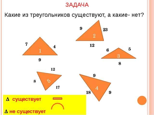 1 4 7 9 2 9 23 12 3 6 5 8 5 8 12 17 9 9 18 ЗАДАЧА Какие из треугольников суще...
