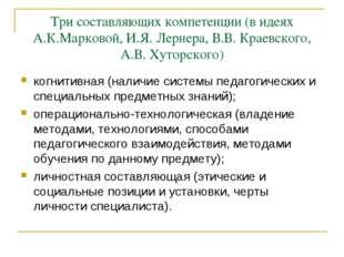 Три составляющих компетенции (в идеях А.К.Марковой, И.Я. Лернера, В.В. Краевс