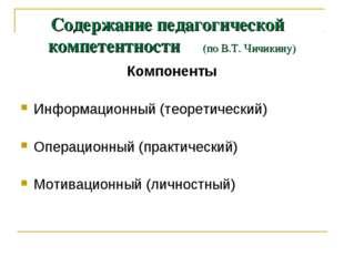 Содержание педагогической компетентности (по В.Т. Чичикину) Компоненты Информ