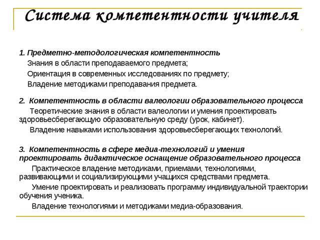 Система компетентности учителя 1. Предметно-методологическая компетентность З...