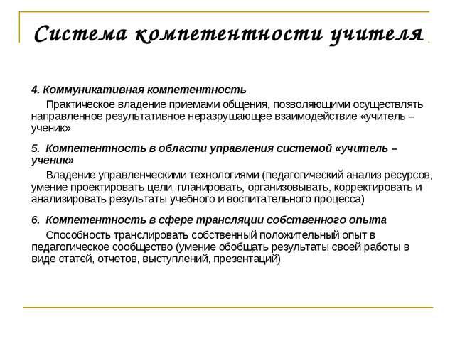 Система компетентности учителя 4. Коммуникативная компетентность Практическое...