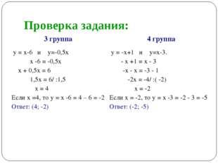 Проверка задания: 3 группа4 группа у = х-6 и у=-0,5х х -6 = -0,5х х + 0