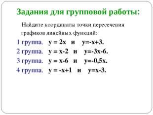 Задания для групповой работы: Найдите координаты точки пересечения графиков л