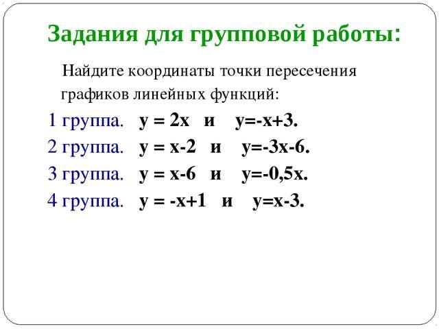 Задания для групповой работы: Найдите координаты точки пересечения графиков л...