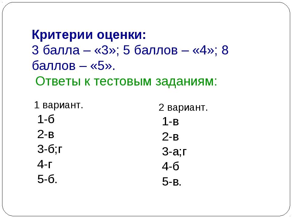 Критерии оценки: 3 балла – «3»; 5 баллов – «4»; 8 баллов – «5». Ответы к тест...