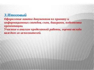 3.Итоговый Оформление пакета документов по проекту и информационных стендов,