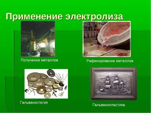 Применение электролиза Получение металлов Рафинирование металлов Гальваностег...