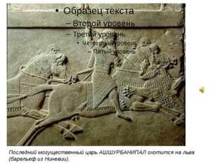 Последний могущественный царь АШШУРБАНИПАЛ охотится на льва (барельеф из Нин