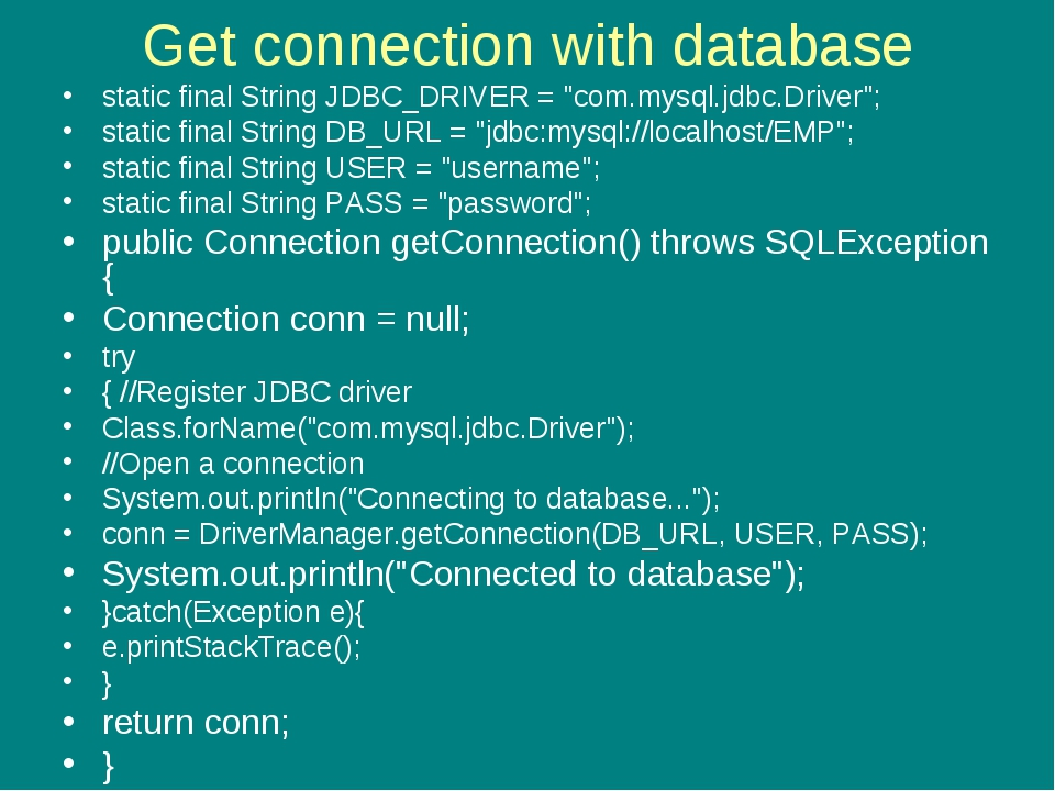 "Get connection with database static final String JDBC_DRIVER = ""com.mysql.jdb..."
