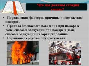 Поражающие факторы, причины и последствия пожаров. Правила безопасного повед