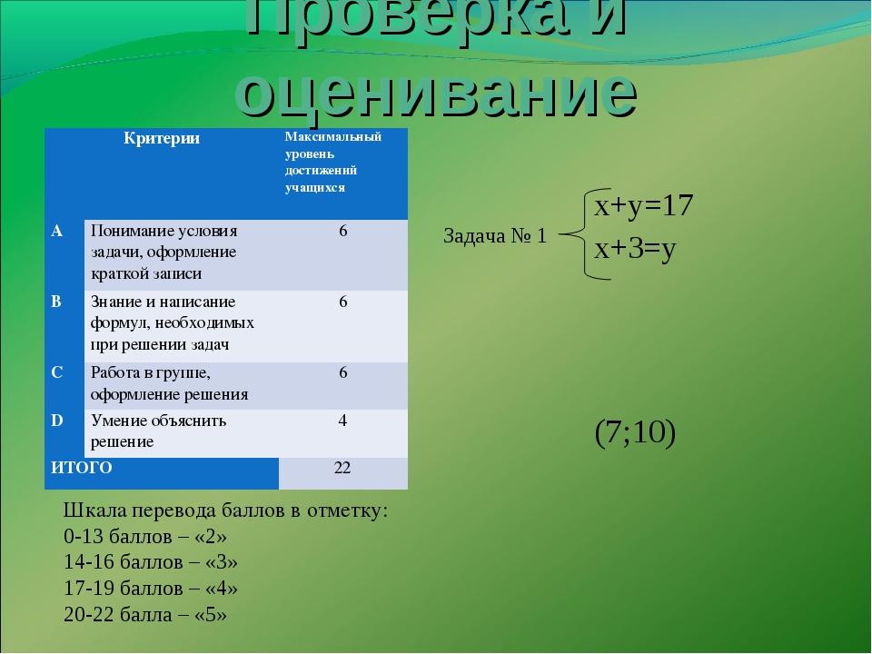 х+у=17 х+3=у Шкала перевода баллов в отметку: 0-13 баллов – «2» 14-16 баллов...