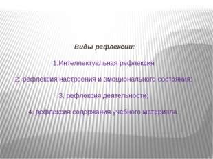 Виды рефлексии: 1.Интеллектуальная рефлексия 2. рефлексия настроения и эмоци