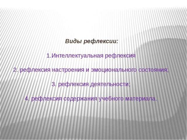 Виды рефлексии: 1.Интеллектуальная рефлексия 2. рефлексия настроения и эмоци...