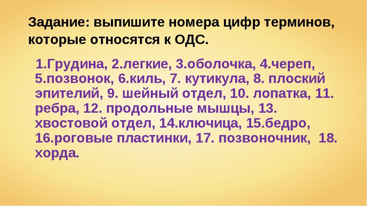 Задание: выпишите номера цифр терминов, которые относятся к ОДС. 1.Грудина, 2...