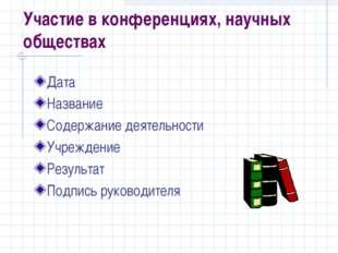 Участие в конференциях, научных обществах Дата Название Содержание деятельнос