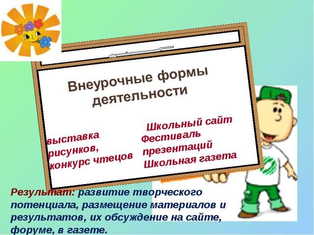 I. выставка рисунков, конкурс чтецов Школьный сайт Результат: развитие творче...