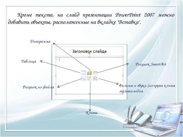 Кроме текста, на слайд презентации PowerPoint 2007 можно добавить объекты, р...