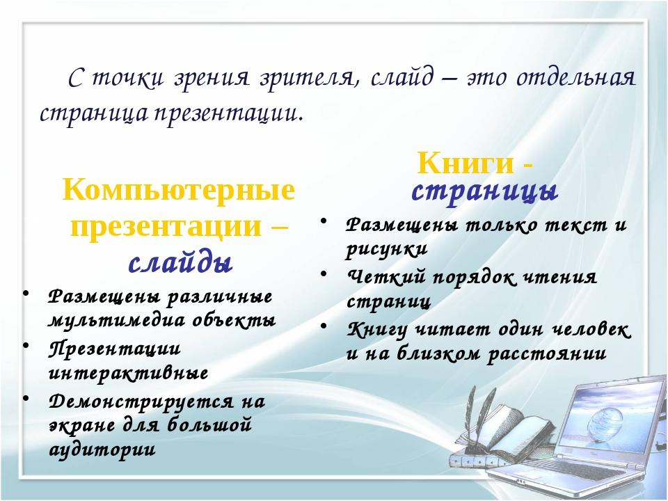 Компьютерные презентации – слайды Размещены различные мультимедиа объекты Пре...