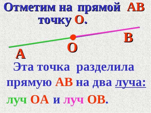 Отметим на прямой АВ А В точку О. О луч ОА Эта точка разделила прямую АВ на...