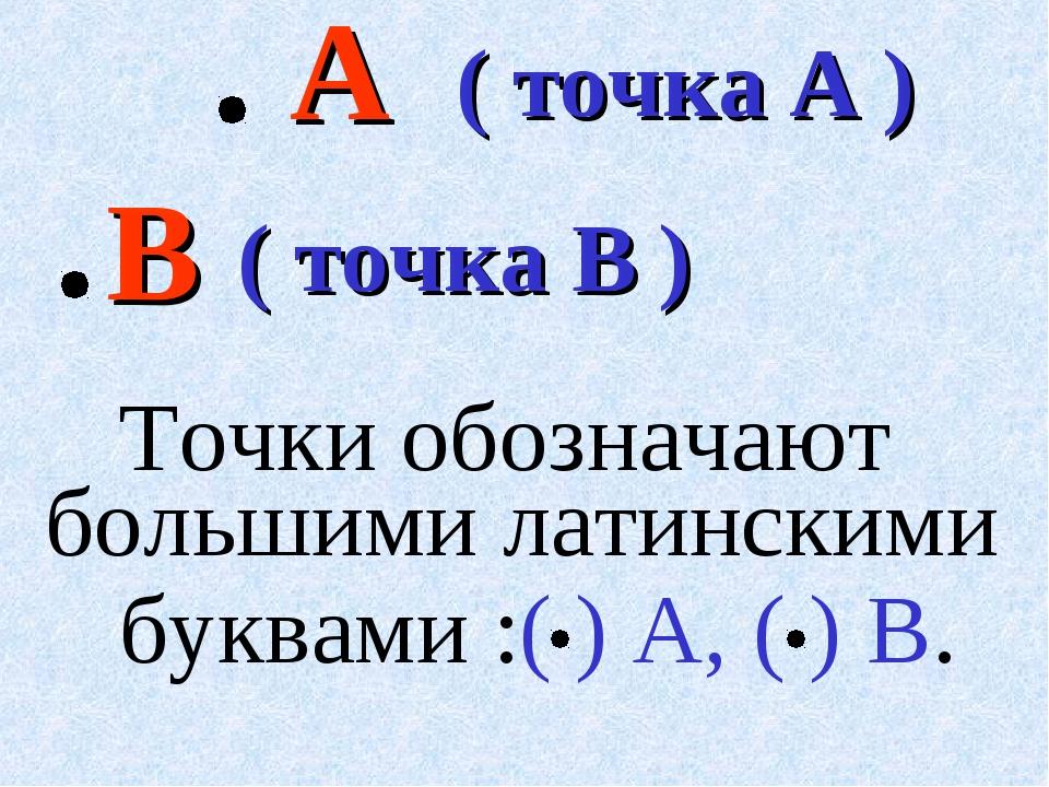А ( точка A ) В ( точка В )