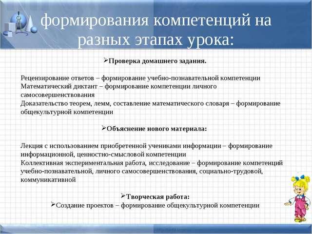 формирования компетенций на разных этапах урока: Проверка домашнего задания....