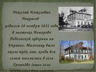 Николай Алексеевич Некрасов родился 28 ноября 1821 года в местечке Немирово П