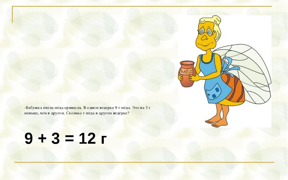 9 + 3 = 12 г -Бабушка пчела мёда принесла. В одном ведерке 9 г мёда. Это на 3...