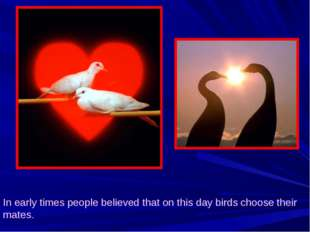 In early times people believed that on this day birds choose their mates.