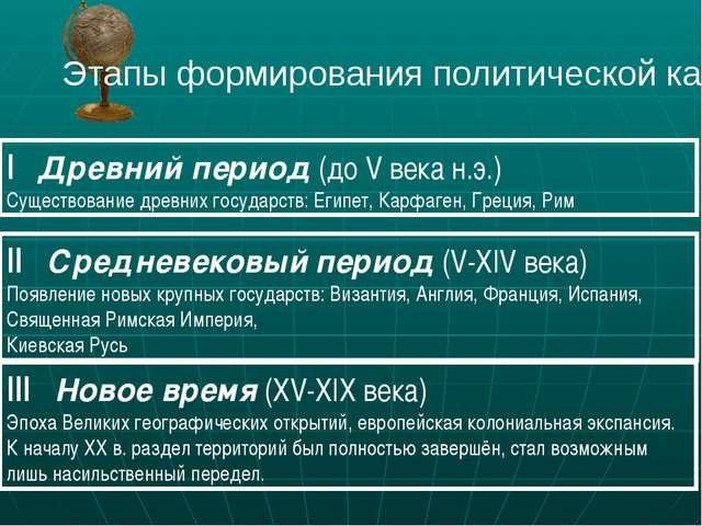 Этапы формирования политической карты I Древний период (до V века н.э.) Сущес...
