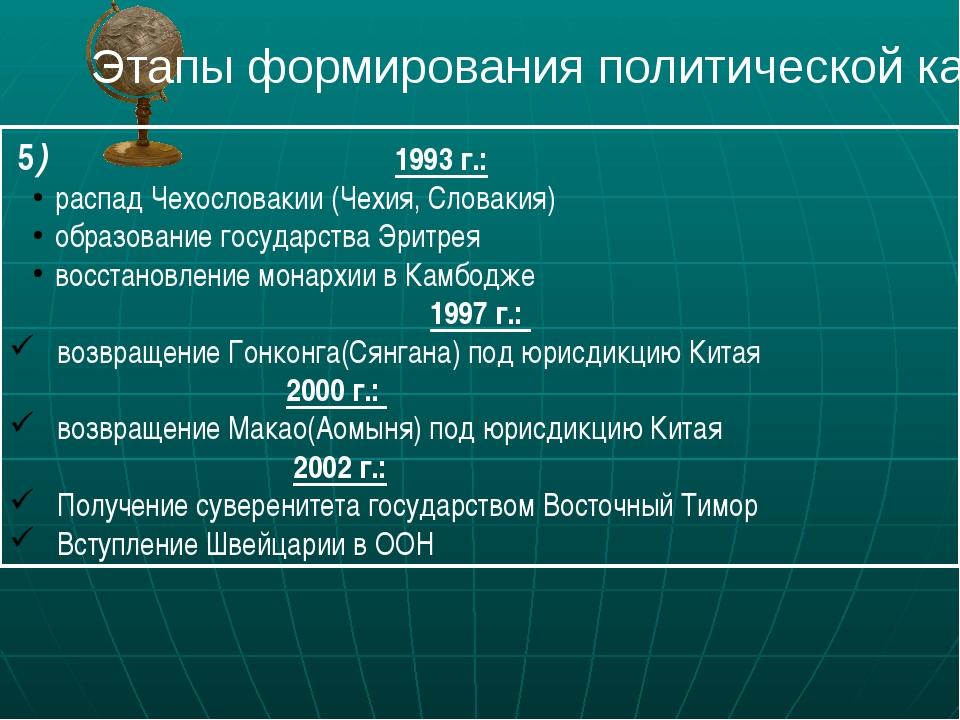 5) 1993 г.: распад Чехословакии (Чехия, Словакия) образование государства Эр...