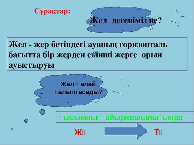 Флюгер – желдің бағытын анықтайтын құрал. Анемометр – желдің жылдамдығын аны...