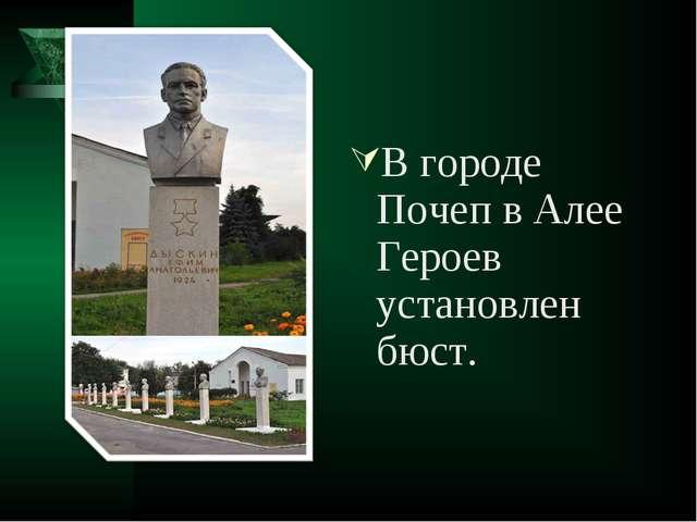 В городе Почеп в Алее Героев установлен бюст.