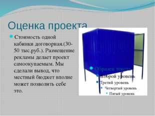 Оценка проекта Стоимость одной кабинки договорная.(30-50 тыс.руб.). Размещени