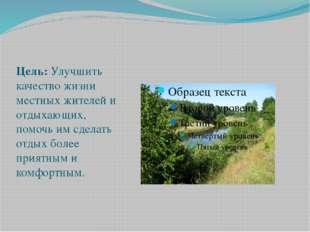 Цель: Улучшить качество жизни местных жителей и отдыхающих, помочь им сдел