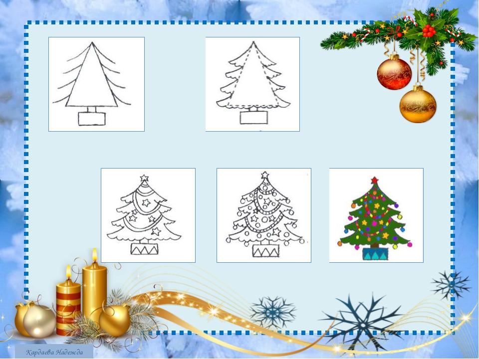 Подруге, рисуем открытку к новому году поэтапно презентация