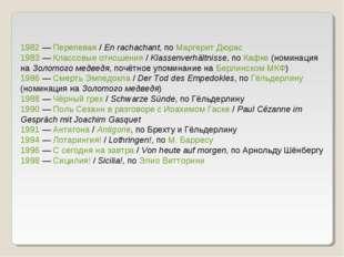 1982— Перепевая / En rachachant, по Маргерит Дюрас 1983— Классовые отношени