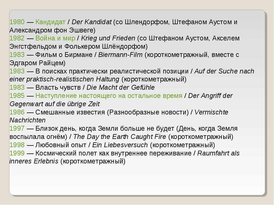 1980 — Кандидат / Der Kandidat (со Шлендорфом, Штефаном Аустом и Александром...
