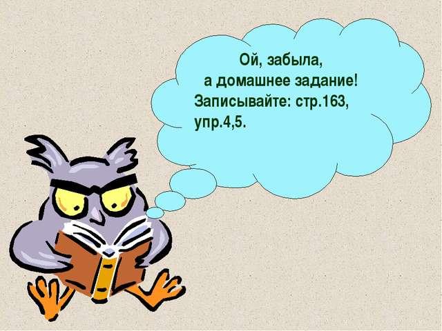 Ой, забыла, а домашнее задание! Записывайте: стр.163, упр.4,5.