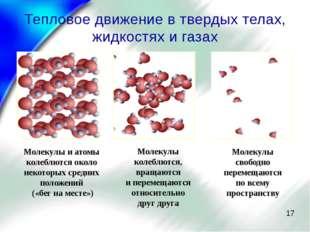 Тепловое движение в твердых телах, жидкостях и газах Молекулы и атомы колеблю